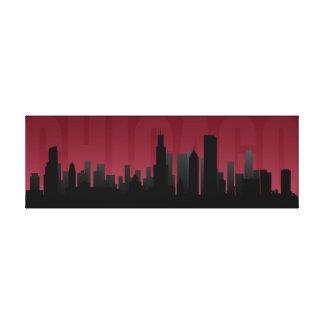 Impresión del arte del horizonte de Chicago Lona Envuelta Para Galerias