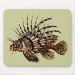 Impresión del arte del Lionfish del vintage Alfombrilla De Ratón