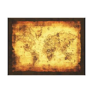 Impresión del arte del mapa de Viejo Mundo Lona Envuelta Para Galerias