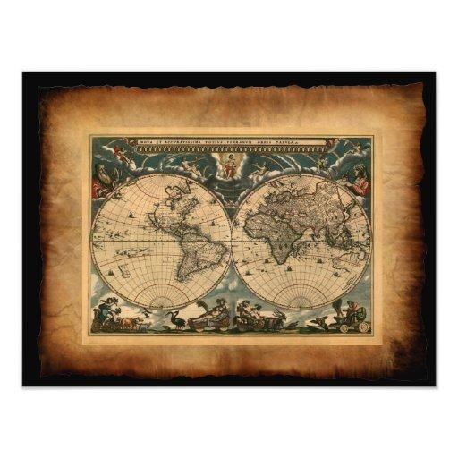 Impresión del arte del mapa de Viejo Mundo Impresiones Fotográficas