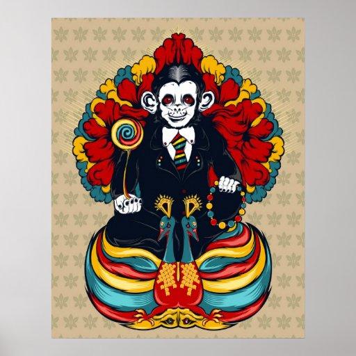 Impresión del arte del mono de Buda Posters