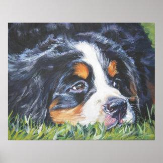 impresión del arte del perrito del perro de montañ póster