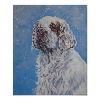 Impresión del arte del perro de aguas de Clumber Posters
