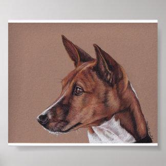 Impresión del arte del perro de Basenji Póster