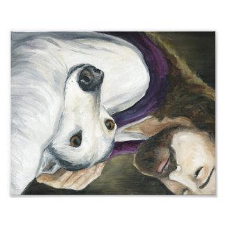 Impresión del arte del perro de Jesús y del galgo Impresión Fotográfica