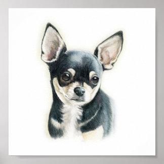 Impresión del arte del perro de la chihuahua póster