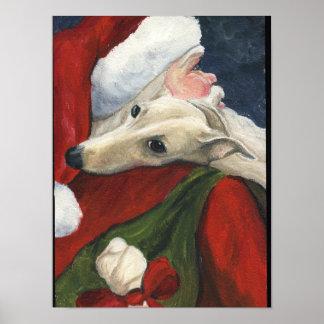 Impresión del arte del perro del galgo y de Papá N Poster