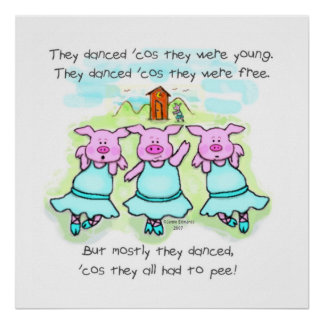 Impresión del arte del poema del cerdo del baile póster