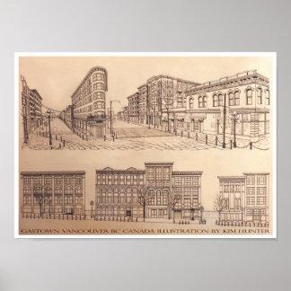 Impresión del arte del recuerdo de Gastown del pos Póster