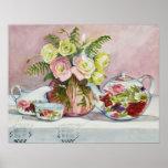 Impresión del arte del té rosado posters