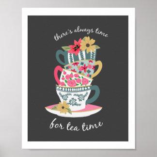 Impresión del arte del tiempo del té por las póster