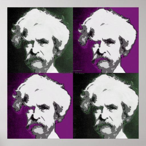 Impresión del arte pop de Mark Twain Póster