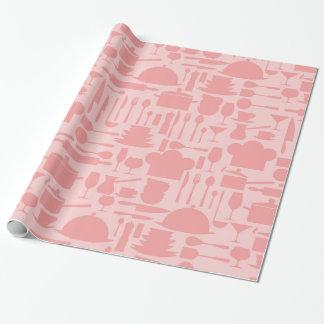 Impresión del artilugio de la cocina del rosa de papel de regalo