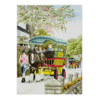 Impresión del autobús del caballo de Polperro Posters