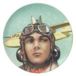 Impresión del aviador del vintage platos para fiestas