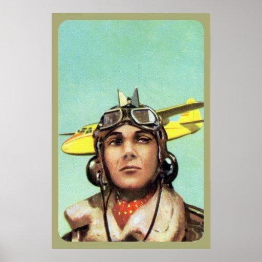 Impresión del aviador del vintage posters