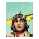 Impresión del aviador del vintage tarjeta postal