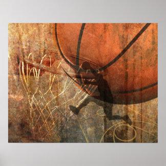 Impresión del baloncesto del Grunge Póster