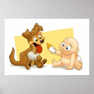 Impresión del bebé y del perrito póster