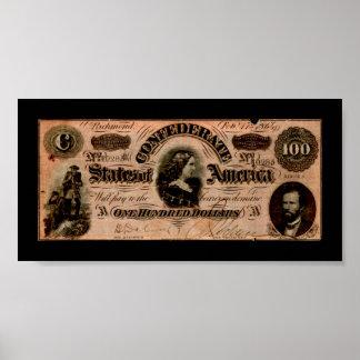 Impresión del billete de dólar del confederado cie poster