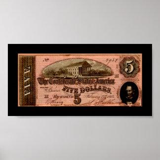 Impresión del billete de dólar del confederado cin posters