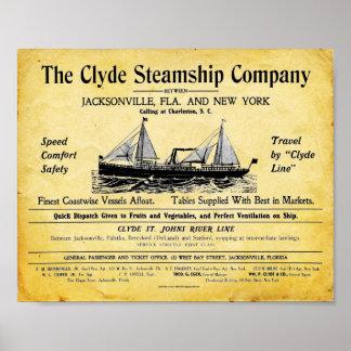 Impresión del buque de vapor del vintage - Clyde Poster