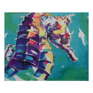 Impresión del caballo de mar póster