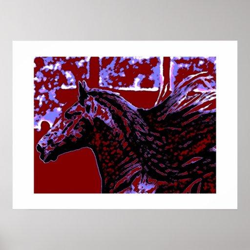 Impresión del caballo del arte pop con las fronter posters