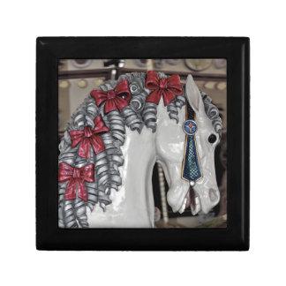 Impresión del caballo del carrusel joyero cuadrado pequeño
