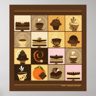 Impresión del café y del chocolate póster
