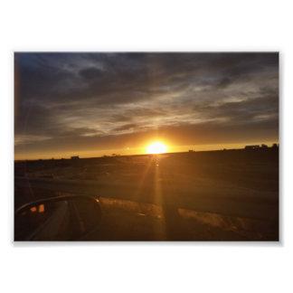 Impresión del camino de la puesta del sol cojinete