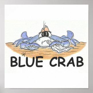 Impresión del cangrejo azul póster