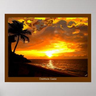 Impresión del Caribe de la puesta del sol Póster