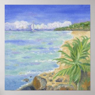 Impresión del Caribe del arte de la playa Póster