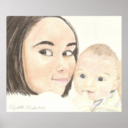 Impresión del cartel de la madre y del hijo impresiones