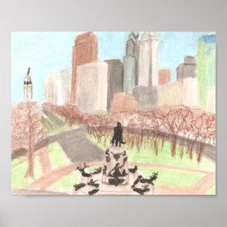 Impresión del cartel del paisaje urbano de Philade Impresiones