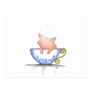 Impresión del cerdo de la taza de té postal