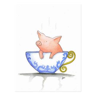 Impresión del cerdo de la taza de té tarjeta postal