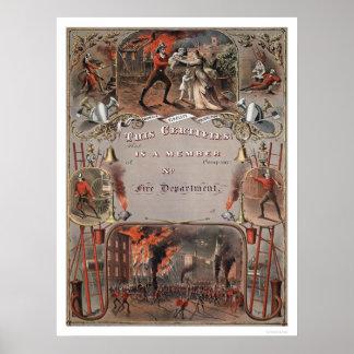 Impresión del certificado del cuerpo de bomberos póster