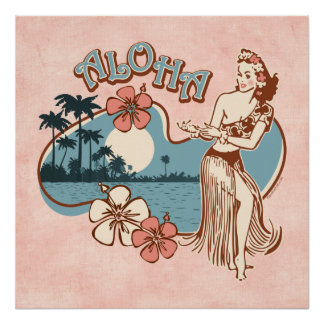 Impresión del chica de Hula de la hawaiana Poster