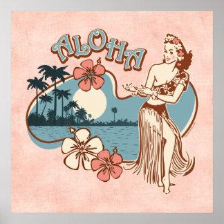 Impresión del chica de Hula de la hawaiana Póster