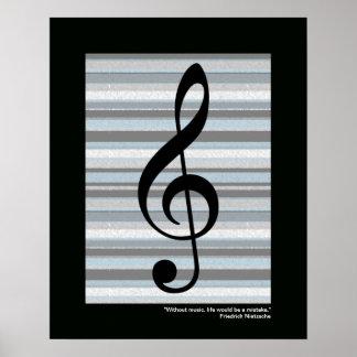 impresión del clef agudo de la música para la póster