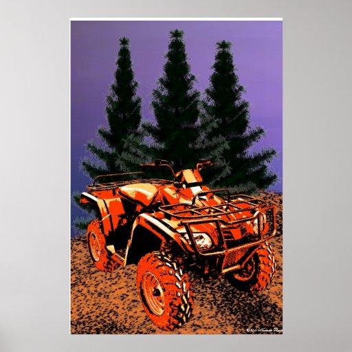 Impresión del coche de cuatro ruedas poster