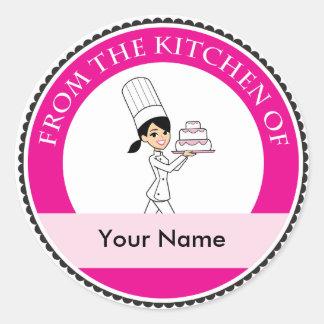 Impresión del cocinero del chica pegatinas redondas