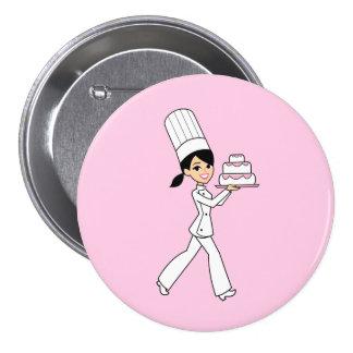 Impresión del cocinero del chica pin redondo de 3 pulgadas