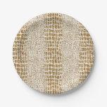 Impresión del cocodrilo del brillo del oro plato de papel 17,78 cm