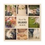 Impresión del collage de la foto del boda del impresiones en madera