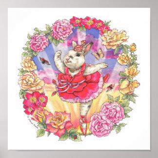 Impresión del conejito de la bailarina subió póster