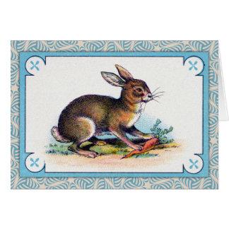 Impresión del conejo del vintage tarjeta de felicitación