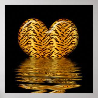 Impresión del corazón del tigre póster